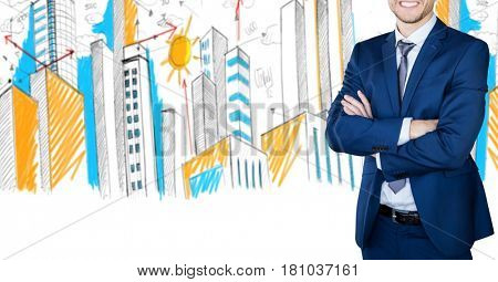 Digital composite of Digital composite image of businessman with arms crossed against buildings