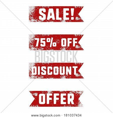Set of sale red ribbons in retro letterpress style. Isolated on white background. Discount, special offer signs. Vector illustration.