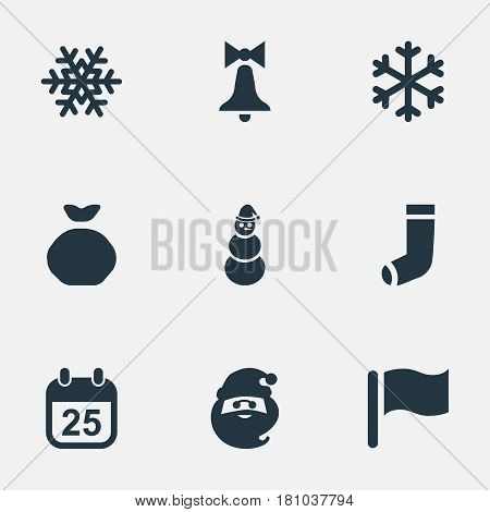 Vector Illustration Set Of Simple Celebration Icons. Elements Christmas Character, Snow, Decoration And Other Synonyms Snowy, Ice And Sack.