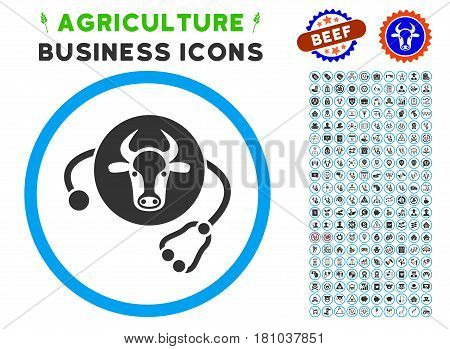 Cow Veterinary rounded icon with agriculture business glyph clip art. Vector illustration style is a flat iconic symbol inside a circle, blue and gray colors. Designed for web and software interfaces.