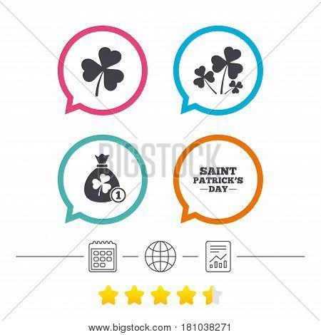 Saint Patrick day icons. Money bag with clover and coin sign. Trefoil shamrock clover. Symbol of good luck. Calendar, internet globe and report linear icons. Star vote ranking. Vector