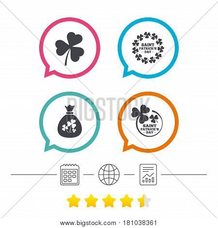 Saint Patrick day icons. Money bag with clover sign. Wreath of trefoil shamrock clovers. Symbol of good luck. Calendar, internet globe and report linear icons. Star vote ranking. Vector