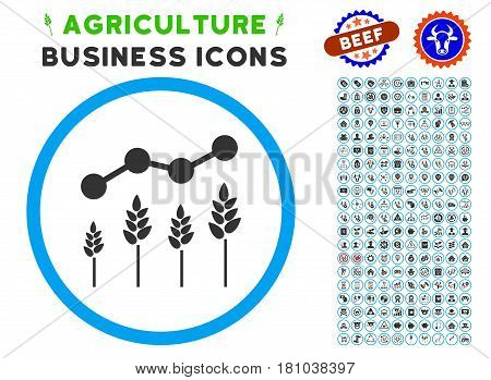 Crop Analytics rounded icon with agriculture commercial glyph collection. Vector illustration style is a flat iconic symbol inside a circle, blue and gray colors.