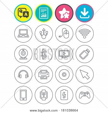 Report, download and star signs. Computer elements icons. Notebook, usb port and smartphone. Printer, smart watch and game console joystick. Bluetooth, flash stick and cursor pointer. Vector