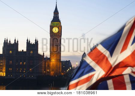 UK flag with Big Ben and House of Parliament in the background