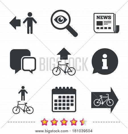 Pedestrian road icon. Bicycle path trail sign. Cycle path. Arrow symbol. Newspaper, information and calendar icons. Investigate magnifier, chat symbol. Vector