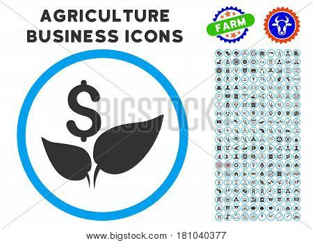 Eco Startup rounded icon with agriculture commercial glyph collection. Vector illustration style is a flat iconic symbol inside a circle, blue and gray colors.