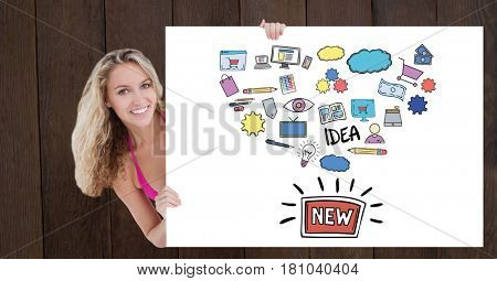Digital composite of Portrait of woman holding billboard with various icons and text against wooden wall