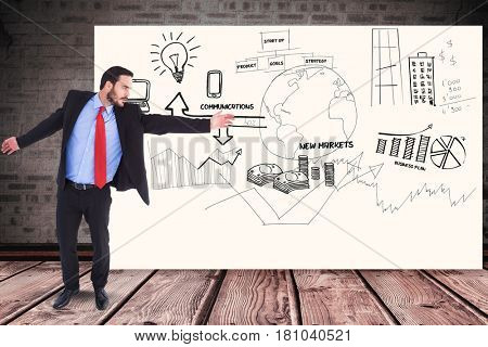 Digital composite of Businessman gesturing over graphs and diagrams on billboard against wall