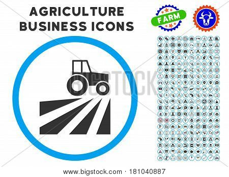Farm Field With Tractor rounded icon with agriculture business glyph pack. Vector illustration style is a flat iconic symbol inside a circle, blue and gray colors.