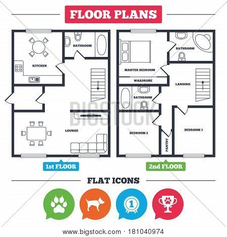 Architecture plan with furniture. House floor plan. Pets icons. Cat paw with clutches sign. Winner cup and medal symbol. Dog silhouette. Kitchen, lounge and bathroom. Vector