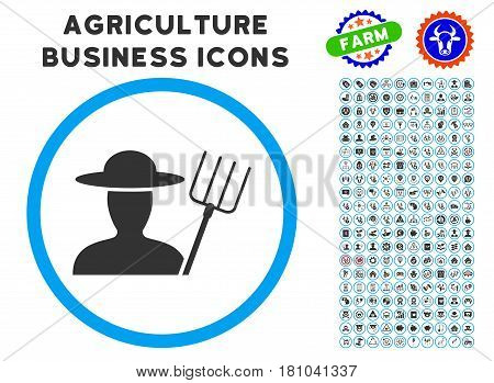 Farmer With Pitchfork rounded icon with agriculture business icon package. Vector illustration style is a flat iconic symbol inside a circle, blue and gray colors.
