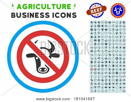 Forbidden Cattle rounded icon with agriculture business glyph collection. Vector illustration style is a flat iconic symbol inside a circle, blue and gray colors.