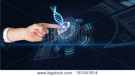Digital composite of Digitally generated image of man touching futuristic screen