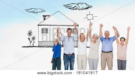 Digital composite of Digitally generated image of family holding hands while standing on field with house drawn in sky
