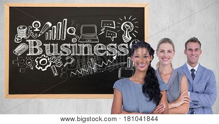 Digital composite of Portrait of confident business people standing against business text various shapes on blackboard