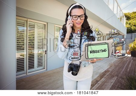 Digital composite of Digitally generated image of woman using mobile phone and laptop with marketing diagram