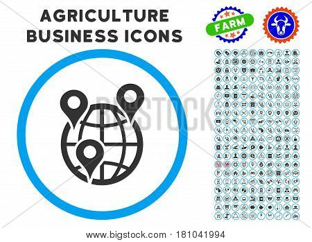 Global Company Branches rounded icon with agriculture business glyph clip art. Vector illustration style is a flat iconic symbol inside a circle, blue and gray colors.