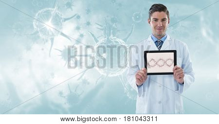 Digital composite of Digitally generated image of male doctor showing DNA structure in tablet computer against organism g