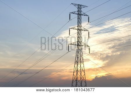 High Voltage Poles on the Evening for background