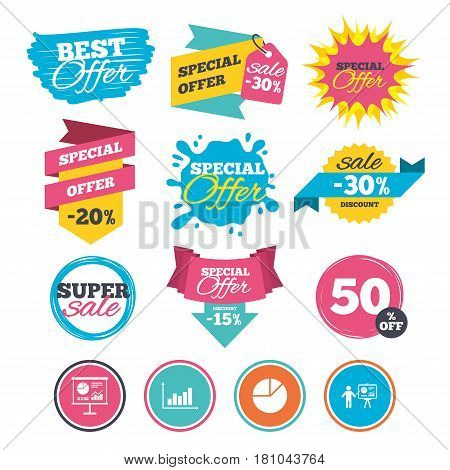 Sale banners, online web shopping. Diagram graph Pie chart icon. Presentation billboard symbol. Supply and demand. Man standing with pointer. Website badges. Best offer. Vector