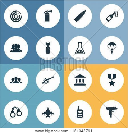 Vector Illustration Set Of Simple Military Icons. Elements Extinguisher, Paratrooper, Courthouse And Other Synonyms Support, Scanner And Government.
