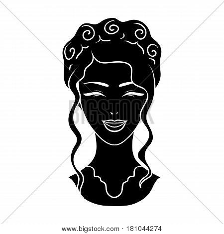 Avatar of a Japanese girl with a hair.Avatar and face single icon in black style vector symbol stock web illustration.
