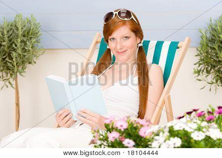 Summer Terrace Red Hair Woman