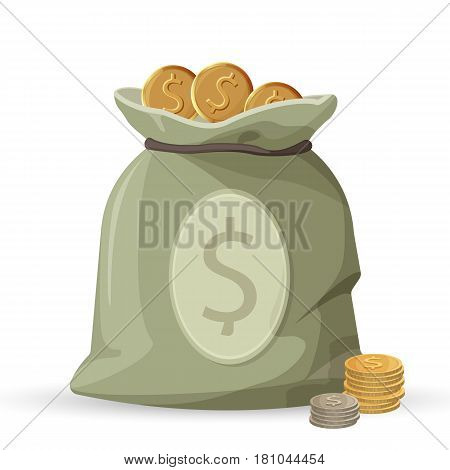 Bag of money with golden and silver coins isolated on white background. Savings in sack with dollar sign, monetary accessory vector illustration. Packed treasures icon