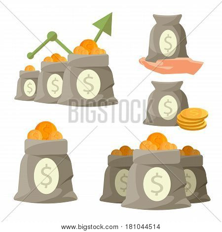 Bags of money with golden coins isolated on white background. Sacks with charts arrow going up, bag on hand, savings in sack with dollar sign, monetary accessory vector illustration