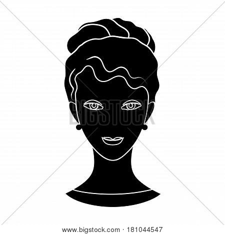 Avatar of a girl with brown hair.Avatar and face single icon in black style vector symbol stock web illustration.