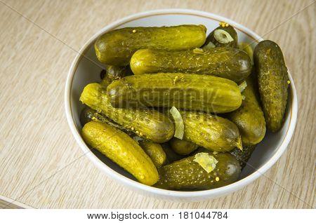 Pickled cucumbers in a plate