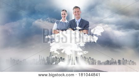 Digital composite of Digitally generated image of business people over city in sky