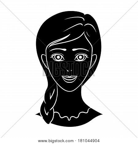 Avatar of a girl with red hair.Avatar and face single icon in black style vector symbol stock web illustration.