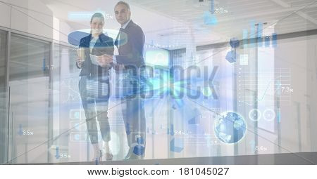 Digital composite of Digitally generated image of various icons with business people in background