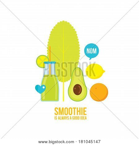 Fresh summer drink Smoothie Juice Cocktail with fruits Vector illustration