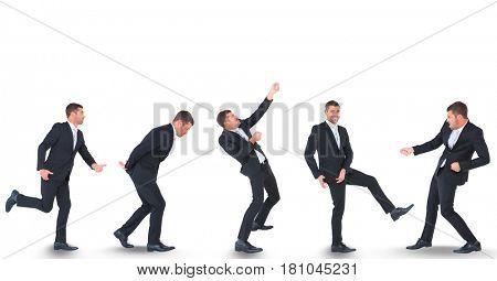 Digital composite of Multiple image of businessman against white background