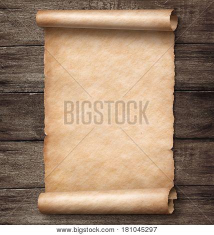 vintage paper scroll on wood