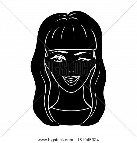 Avatar girl with long dark hair.Avatar and face single icon in black style vector symbol stock web illustration.