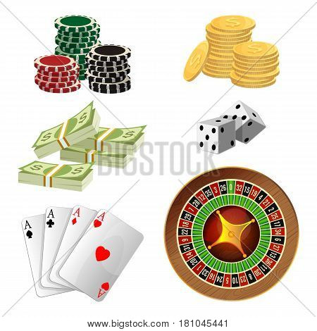 Poker chips, golden coins with dollar sign, piles of money, aces playing cards, wheel of fortune, pair of dice and isolated on white background. Vector illustration gambling betting concept