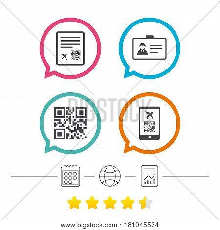 QR scan code in smartphone icon. Boarding pass flight sign. Identity ID card badge symbol. Calendar, internet globe and report linear icons. Star vote ranking. Vector