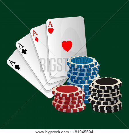 Betting concept. Ace playing cards with symbols red heart and diamond, black spade and club. Gambling chips isolated on green background. Vector illustration of colorful gamble game icons banner
