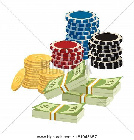 Betting gambling concept. Poker chips, golden coins with dollar sign, piles of money isolated on white background. Vector illustration of colorful gambling chips, award icons, money in game