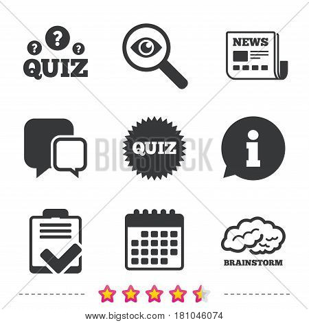 Quiz icons. Brainstorm or human think. Checklist symbol. Survey poll or questionnaire feedback form. Questions and answers game sign. Newspaper, information and calendar icons. Vector