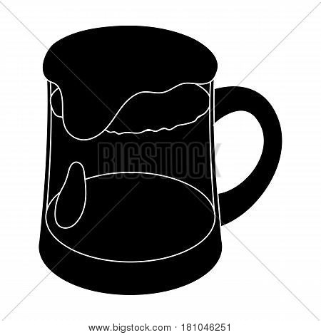 A glass of foamy Belgian beer.The dark Belgian wolf. Belgium single icon in black style vector symbol stock web illustration.