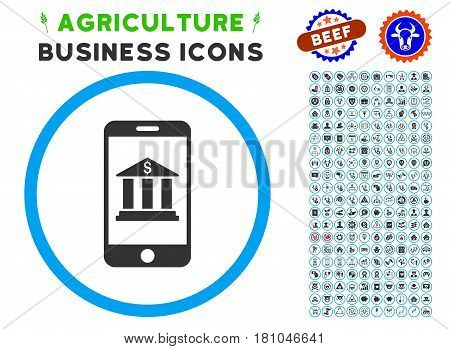 Mobile Bank rounded icon with agriculture business glyph kit. Vector illustration style is a flat iconic symbol inside a circle, blue and gray colors. Designed for web and software interfaces.