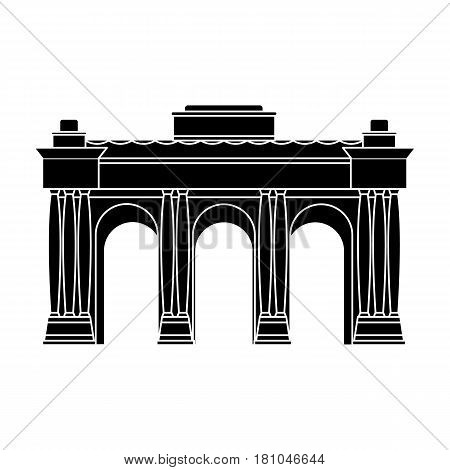 The Belgian arch monument.The dark Belgian wolf. Belgium single icon in black style vector symbol stock web illustration.