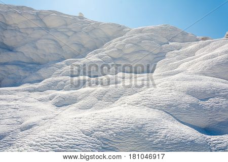 Natural travertine pools and terraces at Pamukkale Turkey. Pamukkale meaning