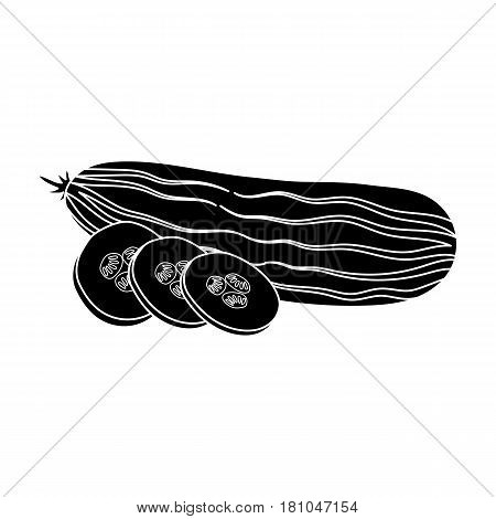 Cucumber sliced into pieces.Burgers and ingredients single icon in black style vector symbol stock web illustration.