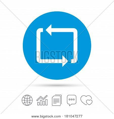 Repeat icon. Loop symbol. Refresh sign. Copy files, chat speech bubble and chart web icons. Vector